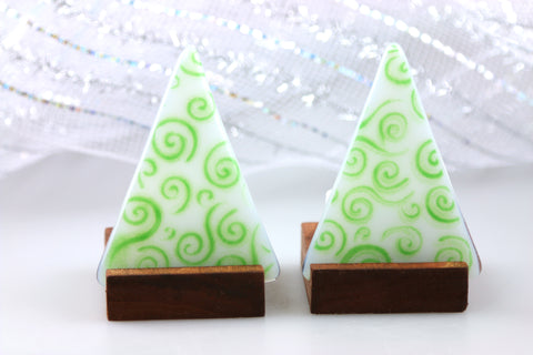 Christmas Tree Fused Glass and Wood Luminary Tea Light Votive Holder