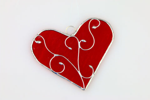 Red Stained Glass Heart Suncatcher