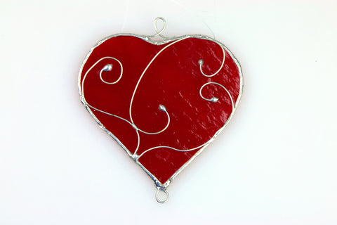 Red Stained Glass Heart Sun Catcher
