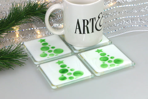 Christmas Tree Fused Glass Coasters