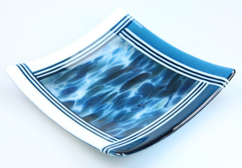 Deep Waters Fused Glass Serving Dish