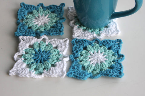 Aqua Crochet Coasters Set of 4 for the Home