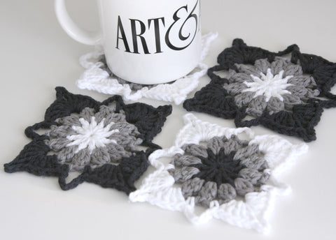 Black White and Grey Crochet Coasters Set of 4