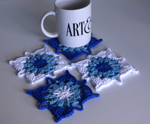 Bright Blue Crochet Coasters Set of 4