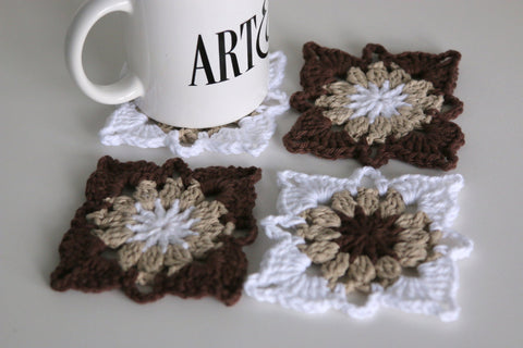 Crochet Coasters Set of 4 in Brown Tan and White