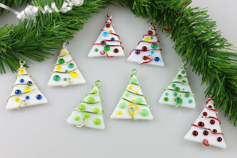 Christmas Tree Ornament Holiday Winter Fused Glass