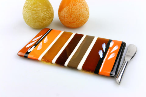 Autumn Leaf Cheese Board Fused Glass