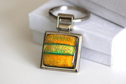Gold Stripe Key Ring Dichoric Glass
