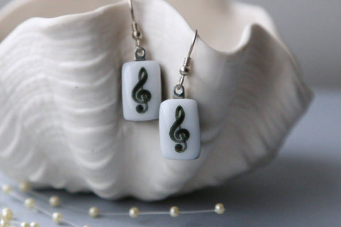 Music Notes Drop Earrings Fused Glass