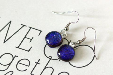 Petite Blue Dichroic Fused Glass Drop Earring