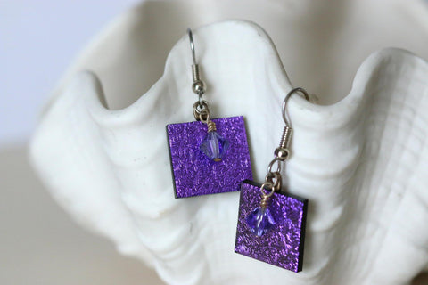 Purple Dichroic Fused Glass Earring