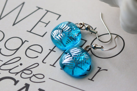 Aqua and Silver Dichroic Fused Glass Earring