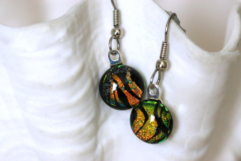 Petite Copper Gold Black Dichroic Fused Glass Dangle Earrings