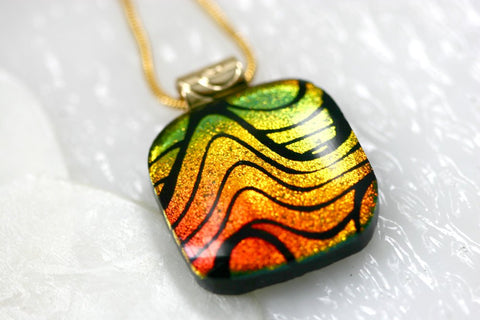 Hot Swirl Dichroic Fused Glass Pendant