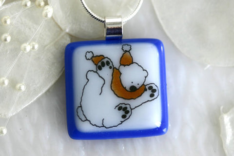 Polar Bear Fused Glass Pendant