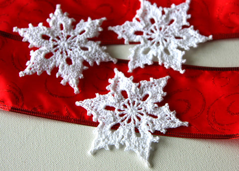 Crochet Snowflakes Christmas Ornament Appliques Set of 3