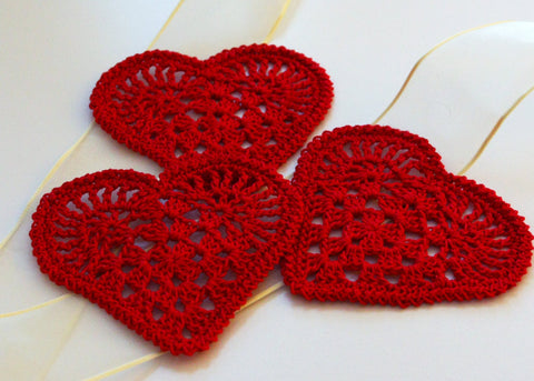 Crochet Hearts Appliques Set of 3 Valentines Day Ornaments