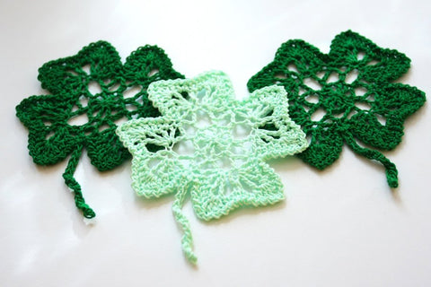 Crochet Four Leaf Clover, Shamrock Ornament