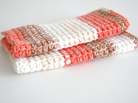 Crochet Wash Cloths 100% Cotton Yarn for Bath or Kitchen