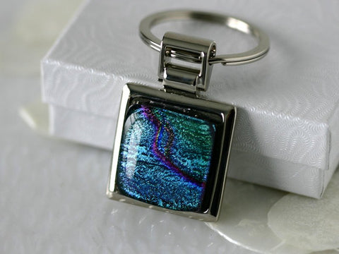 Aqua Green Key Ring Dichoric Glass Keychain