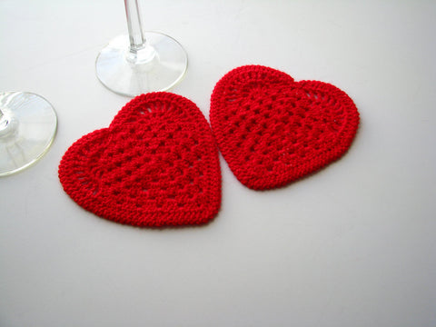Coasters Crochet Hearts Appliques Set of 2 Valentines Day