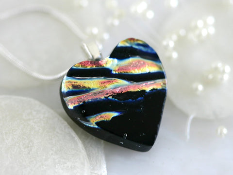 Glass Heart Dichroic Fused Glass Pendant Necklace