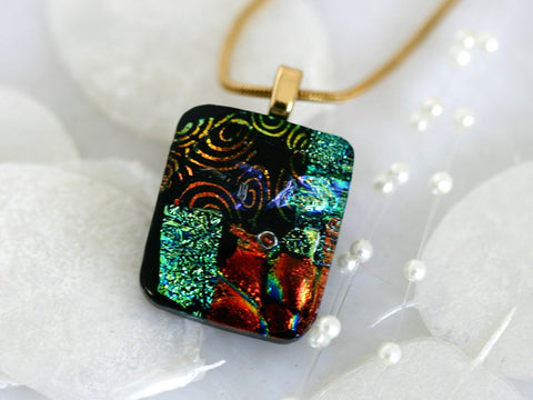 Square Layered Dichroic Fused Glass Pendant Necklace