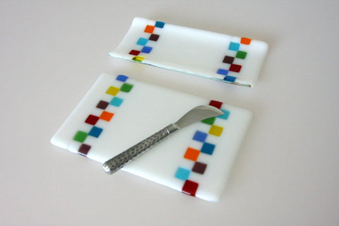 Cheese Board and/or Cracker Tray Set Fused Glass