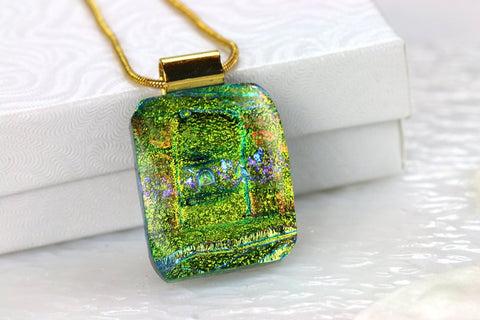 Green Layered Dichroic Fused Glass Pendant