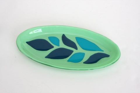 Leaves on Oval Serving Dish