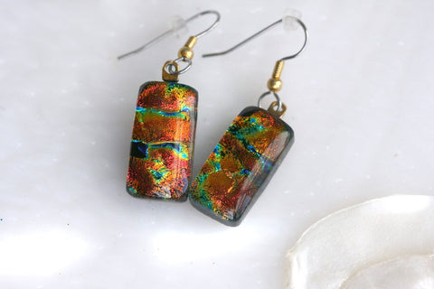 Earrings Red Drop Dangle Dichroic Fused Glass