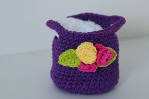 Crochet Purple Basket with Face Scrubbies Makeup Remover Pads