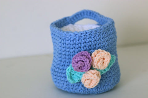 Cornflower Blue Crochet Basket with Makeup Remover Pads
