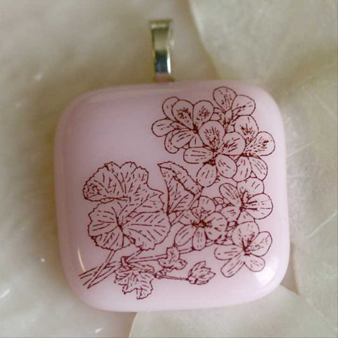 Pretty Pink Pansies Fused Glass Pendant