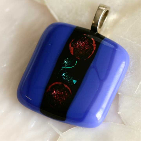Blue Cherries Fused Glass Pendant