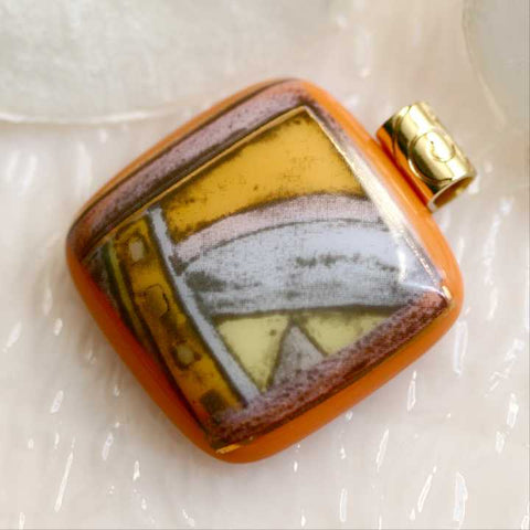 Gold Graphic Art Fused Glass Pendant
