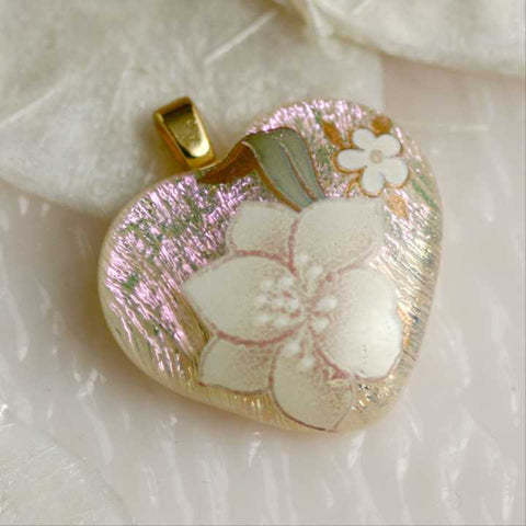 Yellow Pink Dichroic Heart Fused Glass Pendant