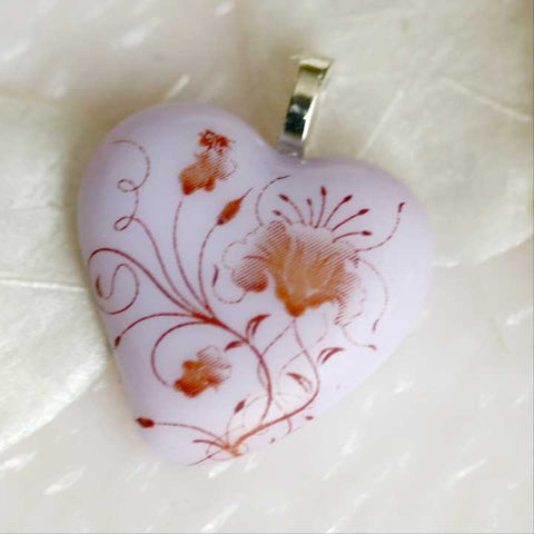 Lavender Heart Sepia Floral Fused Glass Pendant