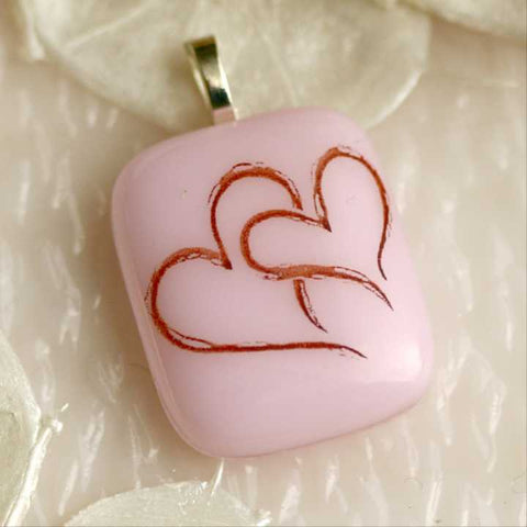 Pink with Sepia Hearts Fused Glass Pendant