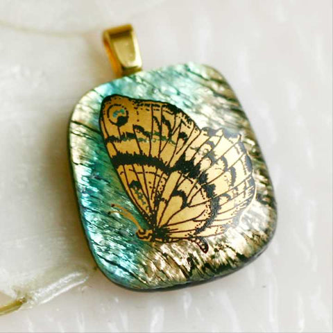 Gold Butterfly Dichoric Fused Glass Pendant