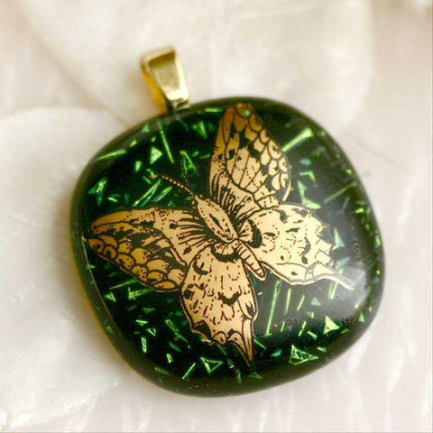 Forest Green Dichroic Fused Glass Pendant