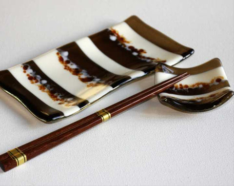 Cream and Bronze Sushi Set