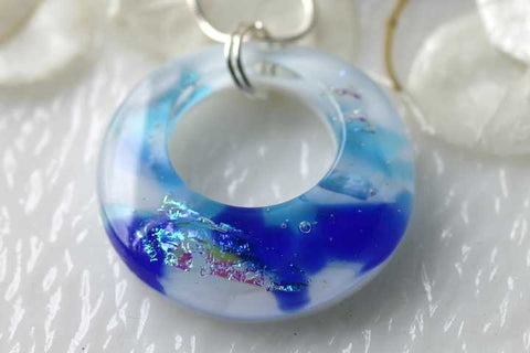 Dichroic Fused Glass Doughnut Pendant