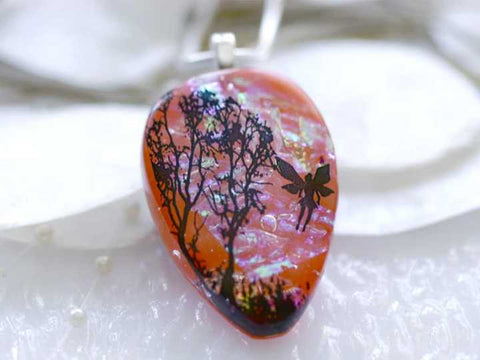 Dichroic Glass Pendant Sunrise Tree with Fairy