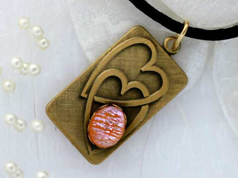Double Heart Pendant Dichroic Fused Glass