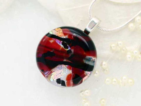 Red Black Dichroic Fused Glass Pendant