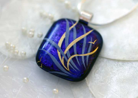 Sea Grass in Gold Dichroic Fused Glass