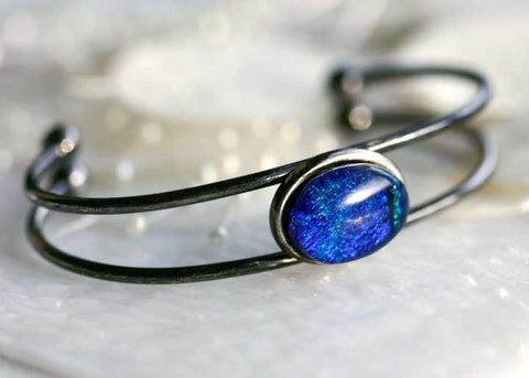 Bangle Bracelet Blue Dichroic Fused Glass