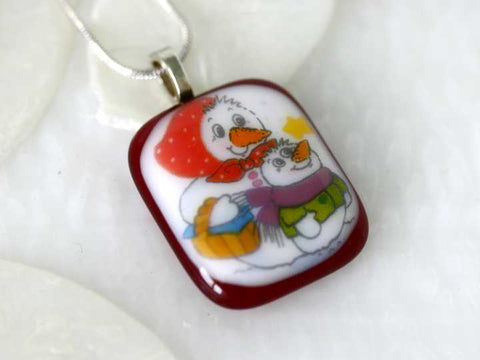Snow People Fused Glass Necklace