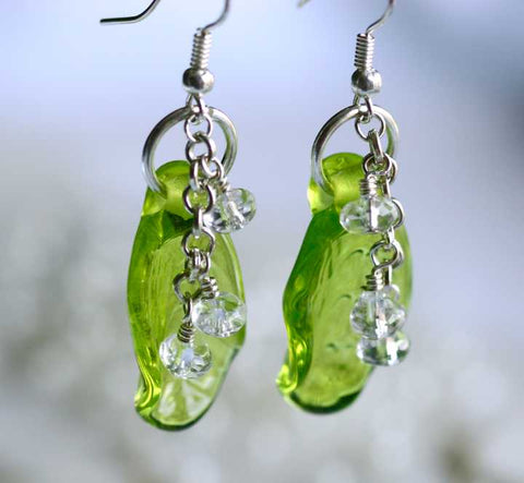 Lampwork Leaf Bead Drop Earrings